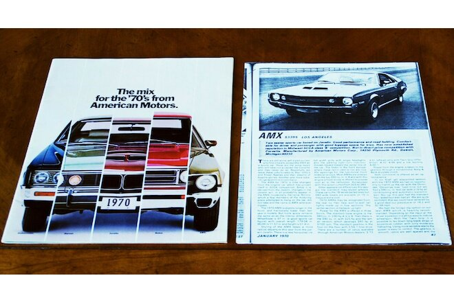 American Motors full range brochure Prospekt, 1970 + AMX test report