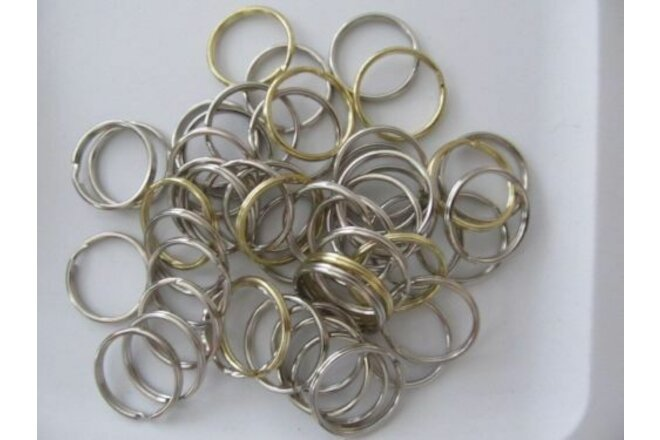 KEY RINGS - ROUND METAL SPLIT STYLE - CHROME or GOLD mixed LOTS . qty = 25 new