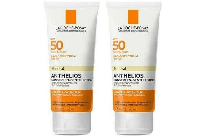 2 La Roche-Posay Anthelios Body & Face Gentle Lotion Mineral SPF 50 Sunscreen