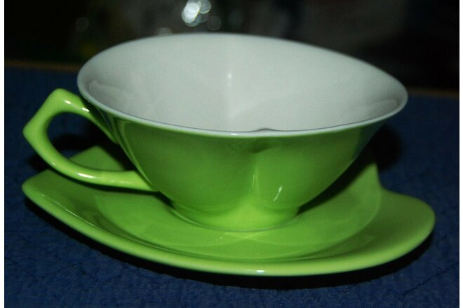 (2) Piece Mary Kay Love Inside Out Shape Heart Cup & Saucer Lime Green White