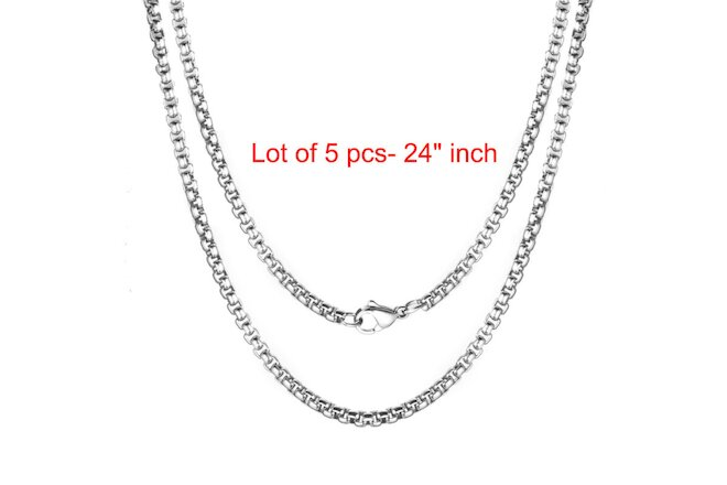 "5 x PCS Lot of 3MM Wholesale 24"" Inch 316L Stainless Steel Rolo Chain Necklaces"