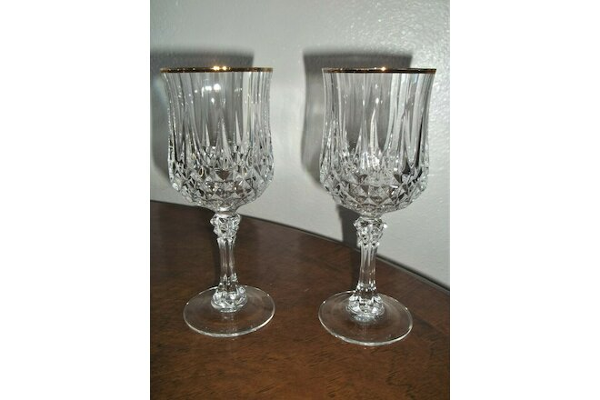 "MINT LOT: 2 Cristal d'Arques-Durand LONGCHAMP GOLD WATER GOBLETS (7-1/8"")"