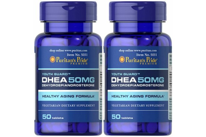 Puritan's Pride DHEA 50mg - Youth Guard 50 Tablets 2 PACK